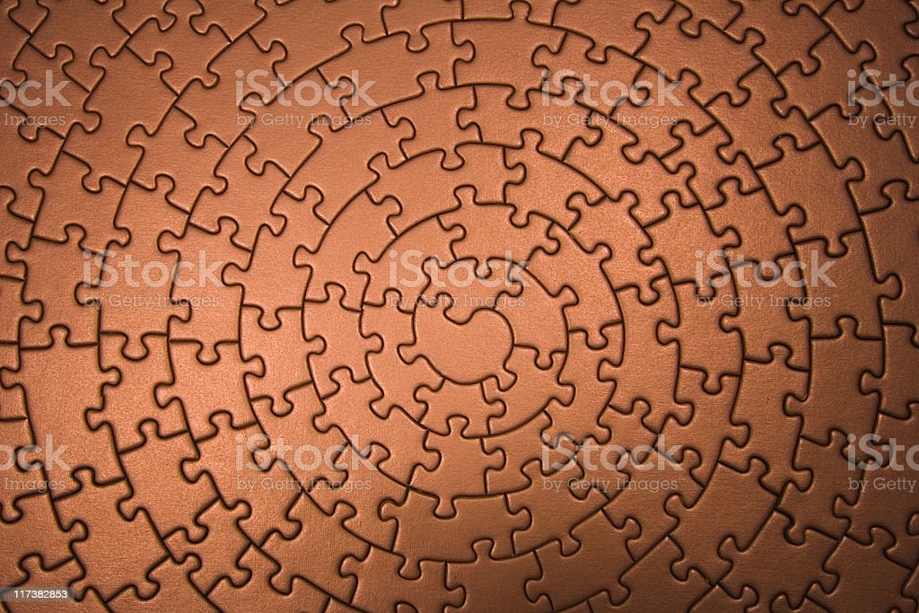 complete jigsaw wide angle in copper royalty-free stock photo