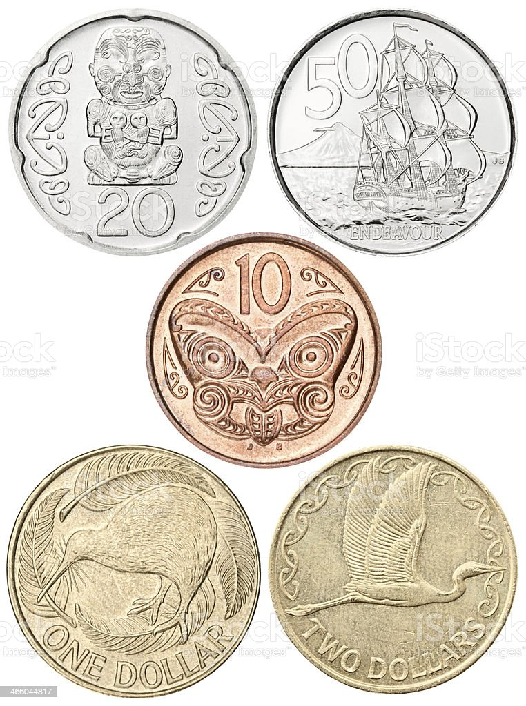 Complete New Zealand coins set on white background, clipping path stock photo
