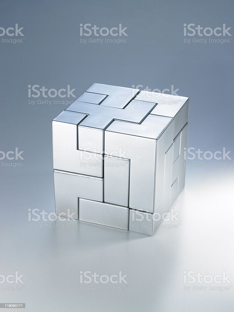 Complete puzzle cube stock photo