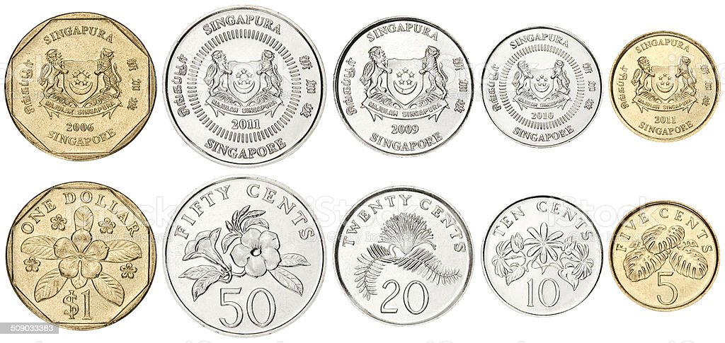Complete set of Singapore Coins on white background stock photo