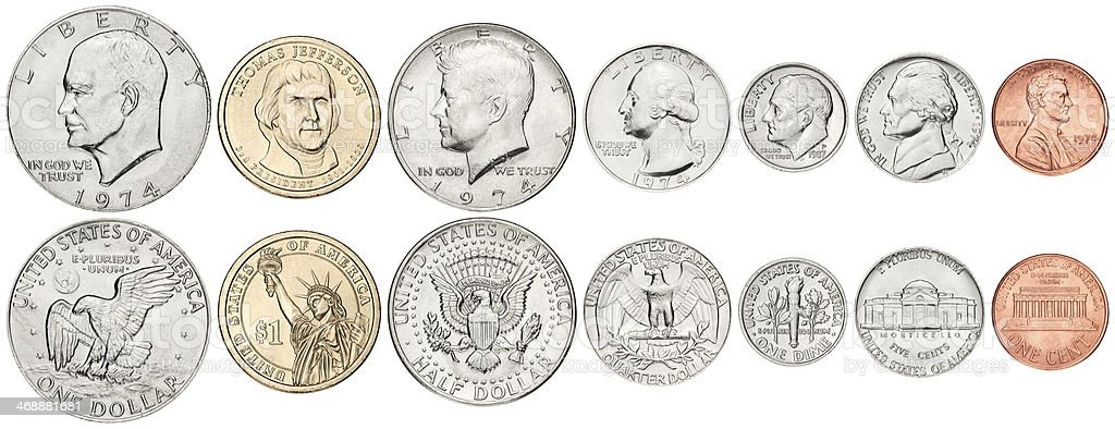 Complete US coins set on white background stock photo