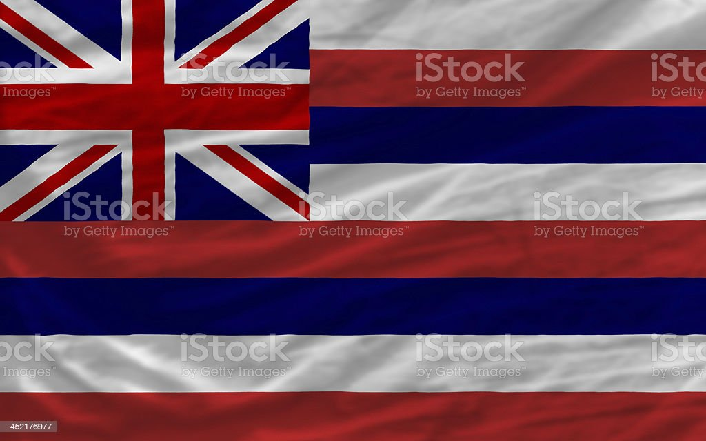 complete waved flag of american state hawaii for background stock photo