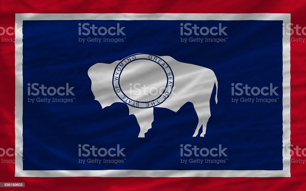 complete waved flag of american state of wyoming for background stock photo