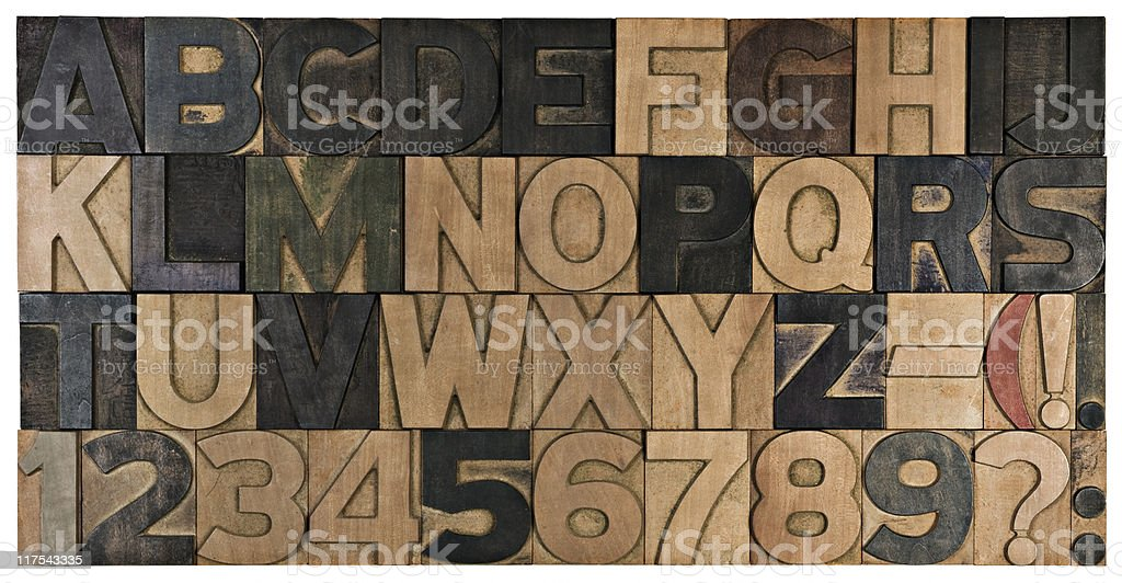 Complete wood printing alphabet. royalty-free stock photo