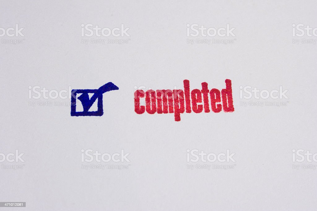 'Completed' Ink Stamp royalty-free stock photo