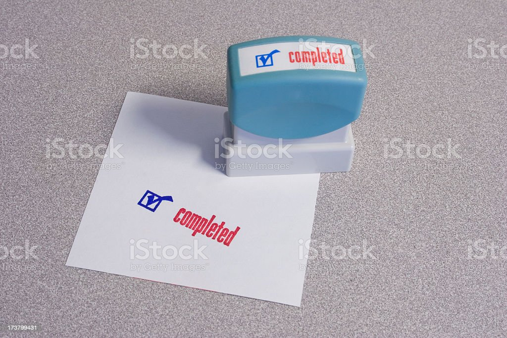 Completed Stamp stock photo