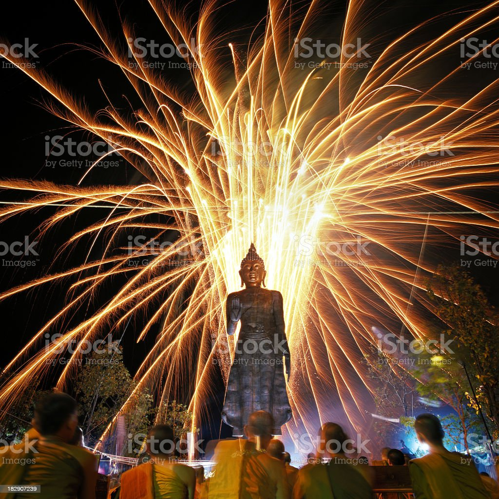 Completion ceremony of a bronze Thai Buddha statue. stock photo