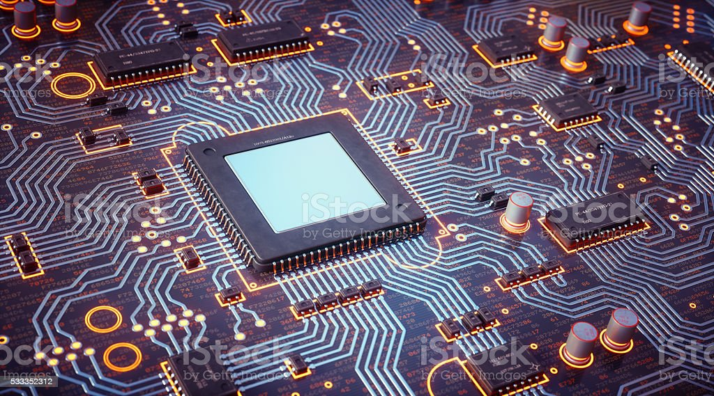 Complex Circuit Board With Orange Hue stock photo