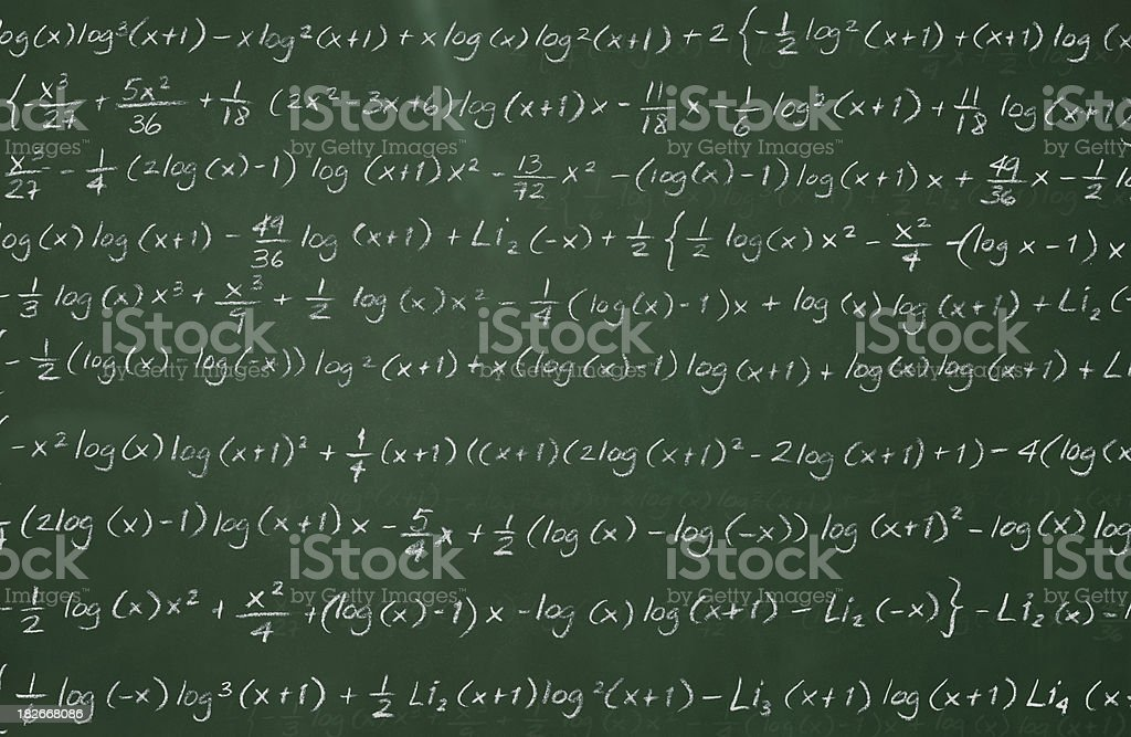 Complex Math on Chalkboard stock photo