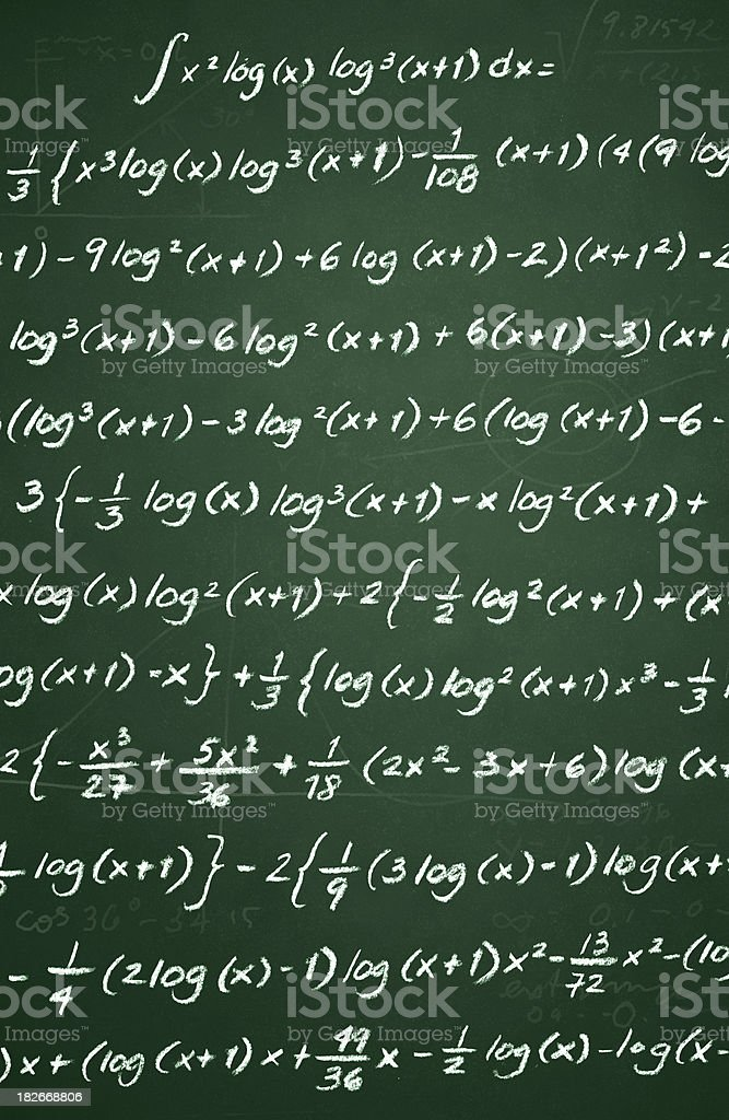 Complex Math on Chalkboard Vertical royalty-free stock photo