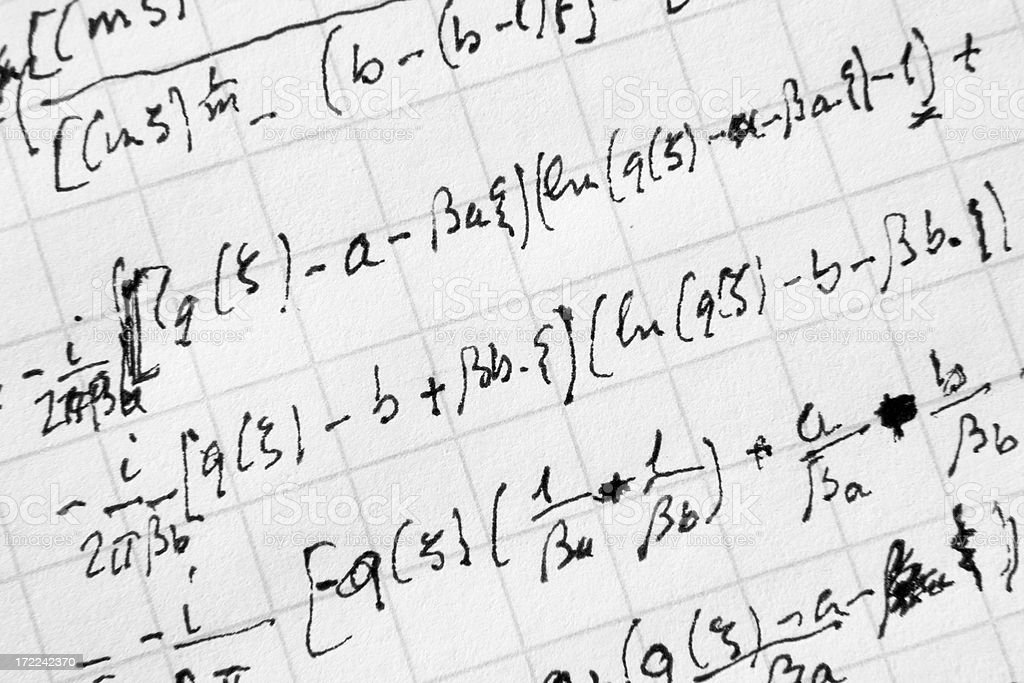 Complex maths in applied physics (real math) royalty-free stock photo