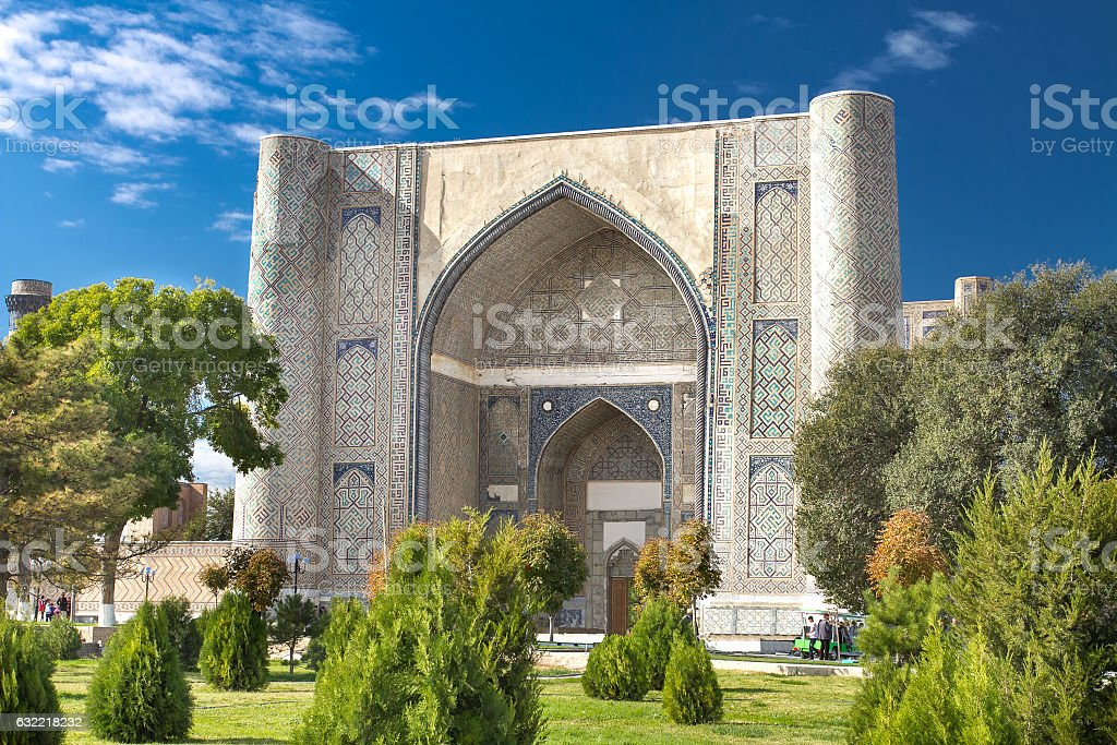Complex of Bibi-Khanym Mosque with rich mosaic decorations and o stock photo