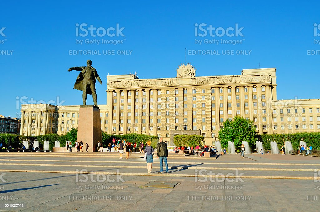 Complex of singing fountains and monument to Lenin, St Petersburg stock photo