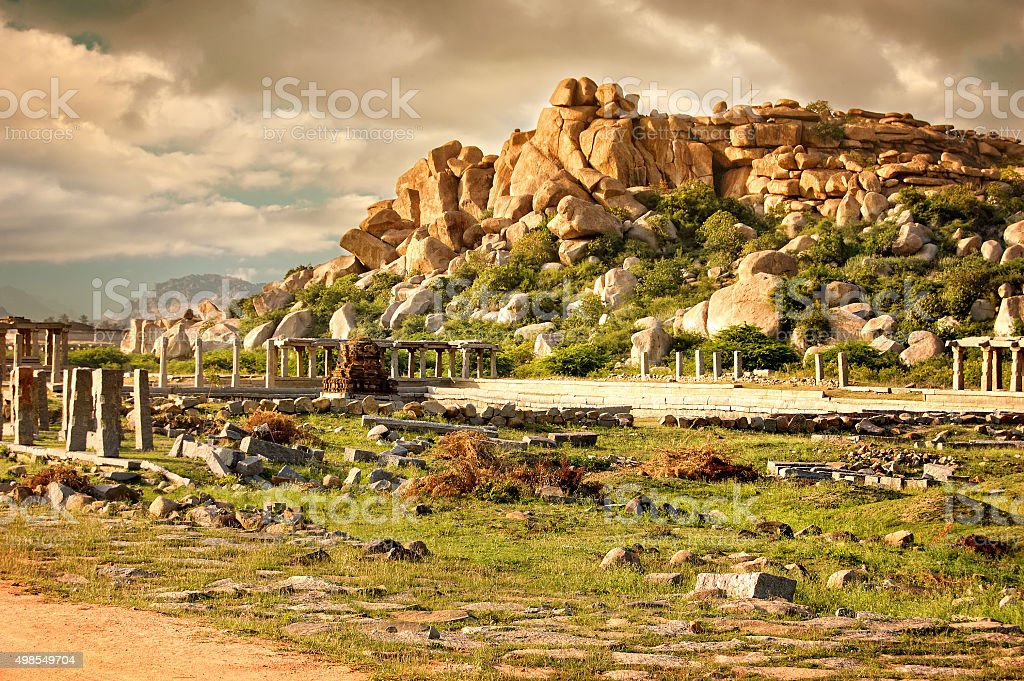 Complex of Vittala Temple  at sunset, Hampi, Karnataka, India. stock photo