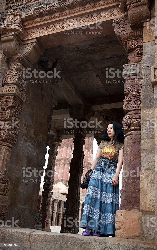 Complex Qutub Minar in Delhi, India stock photo