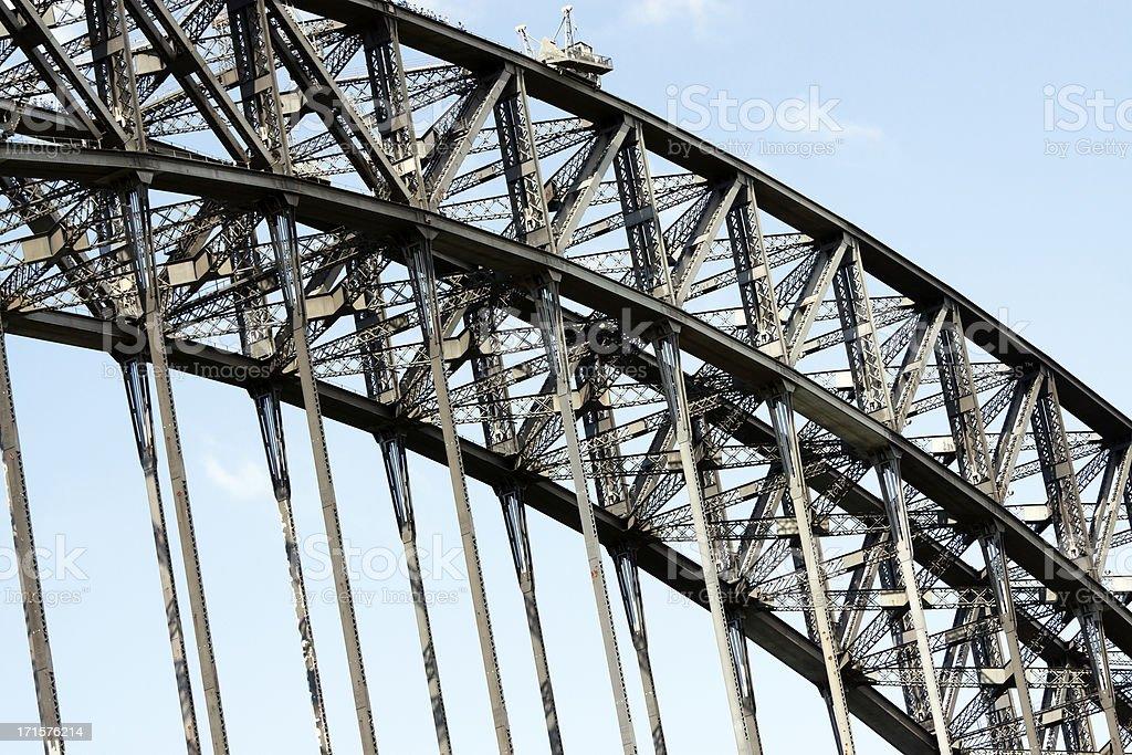 Complex steel structure of Harbour bridge Sydney Australia, copy space stock photo