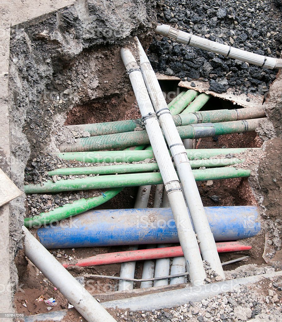 Complex Underground Pipes stock photo