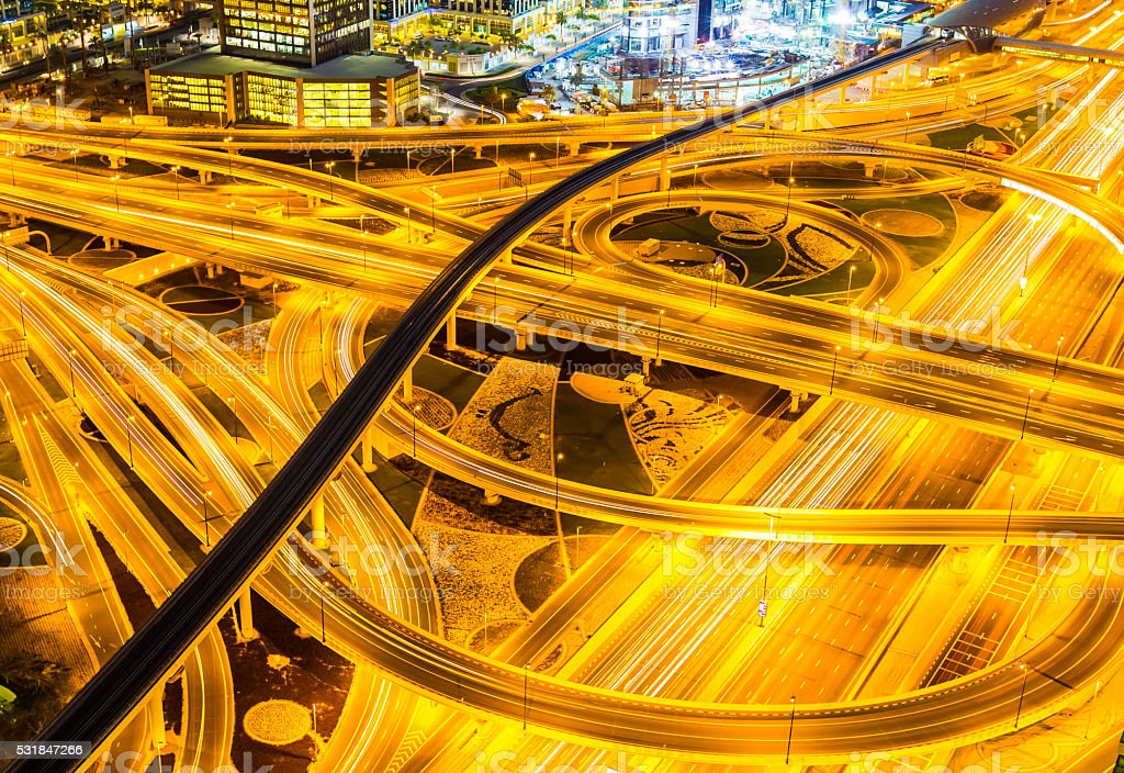 Complex Web of Dubai Motorway stock photo