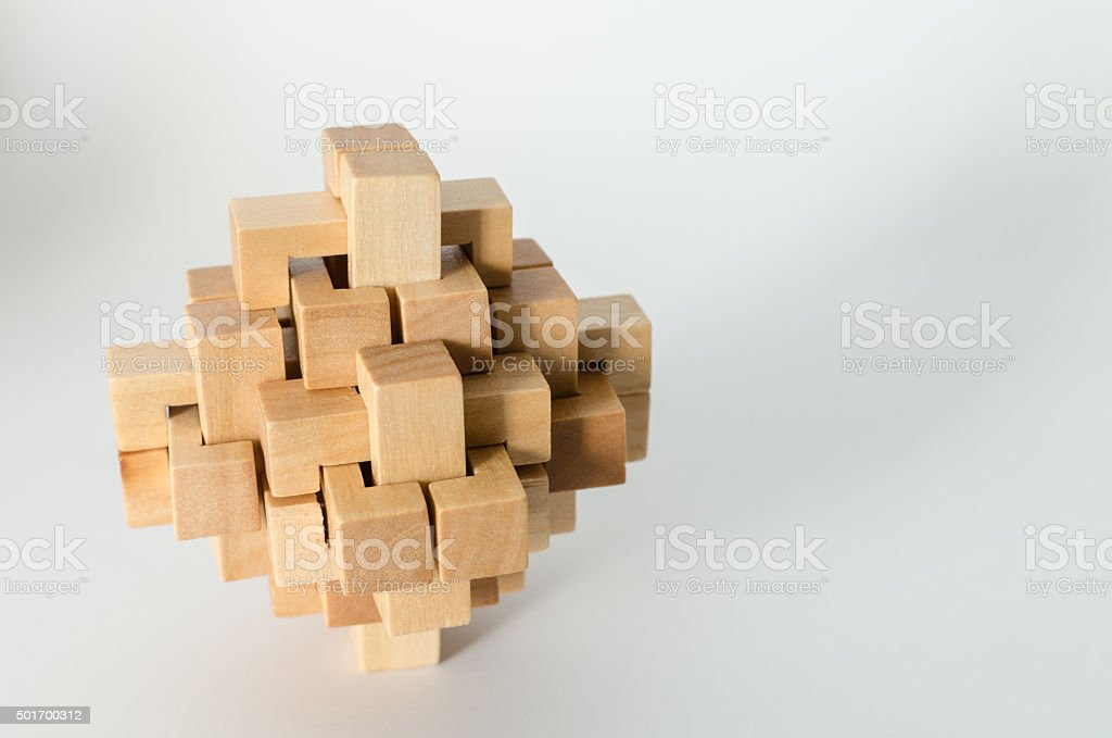 Complex Wooden Puzzle stock photo