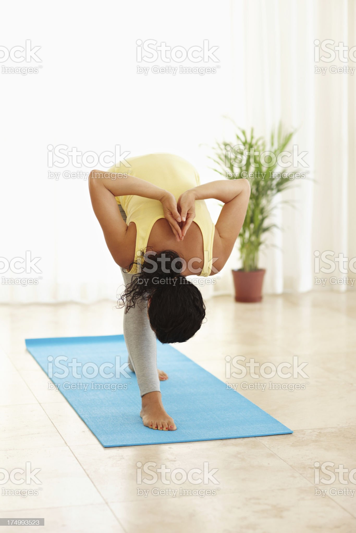 Complex yoga poses royalty-free stock photo