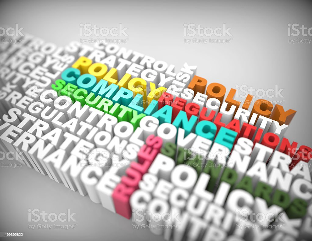 Compliance 3d word concept stock photo