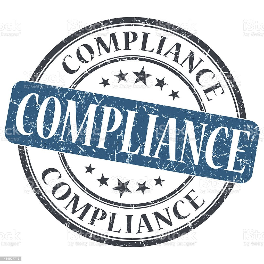 Compliance blue grunge round stamp on white background stock photo