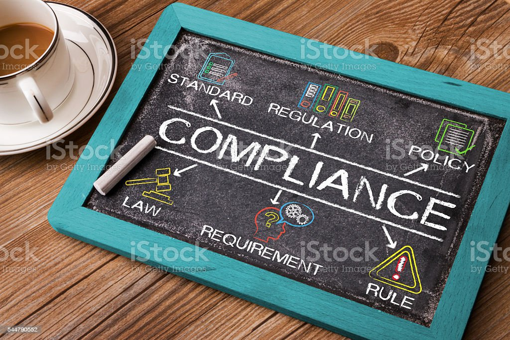 Compliance concept diagram with related keywords and elements stock photo