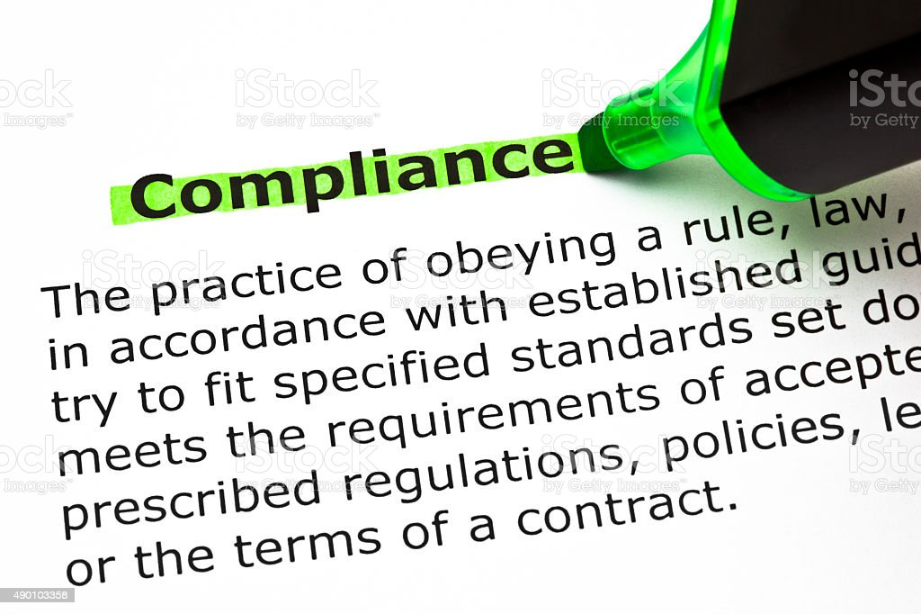 Compliance Definition stock photo