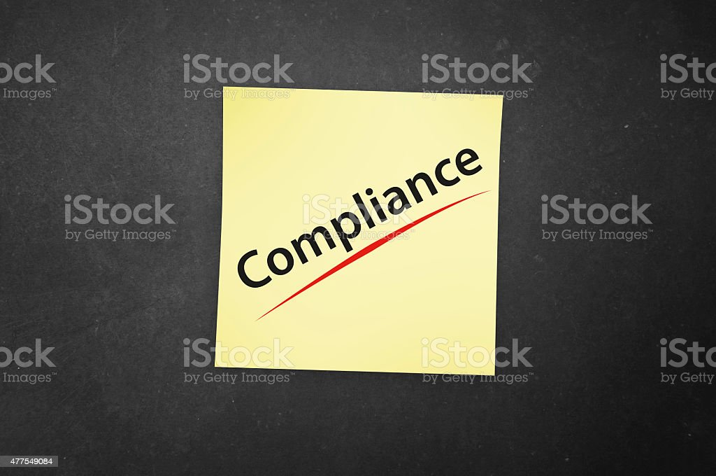 Compliance - Guidelines and Regulations - Sticky Note stock photo