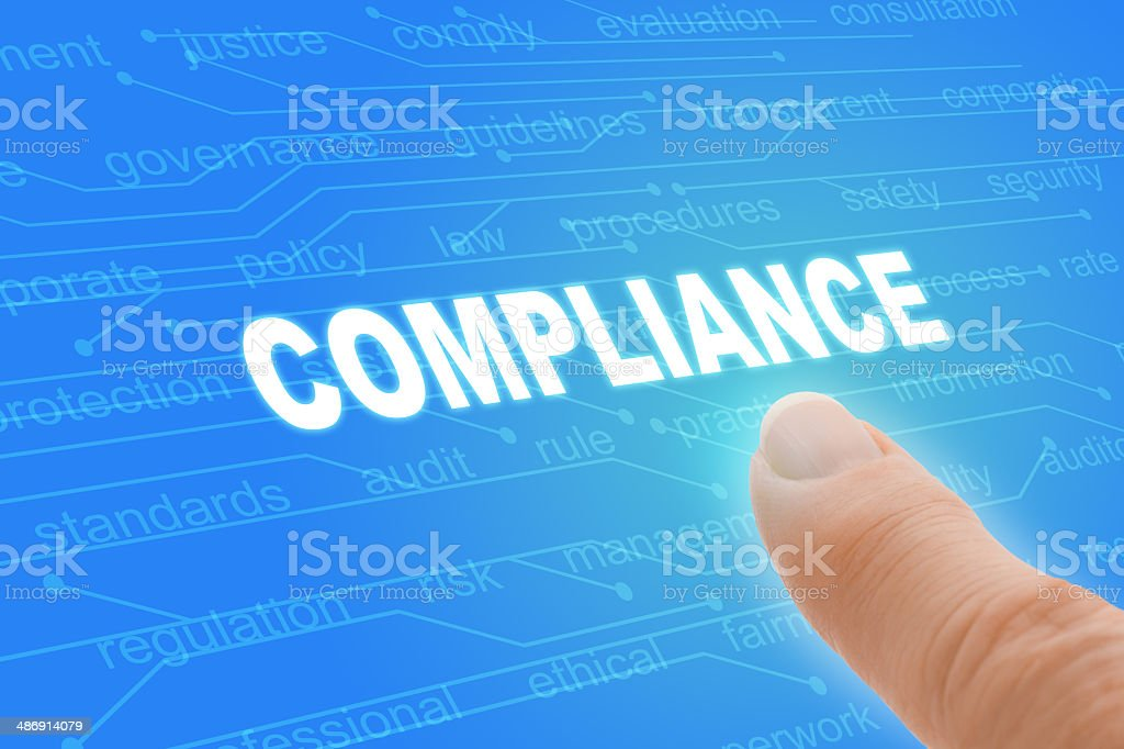 Compliance Regulations Computer Words with Finger Closeup stock photo