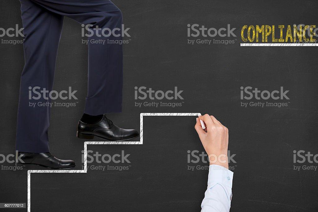 Compliance Stairs on Blackboard Teamwork Concept stock photo