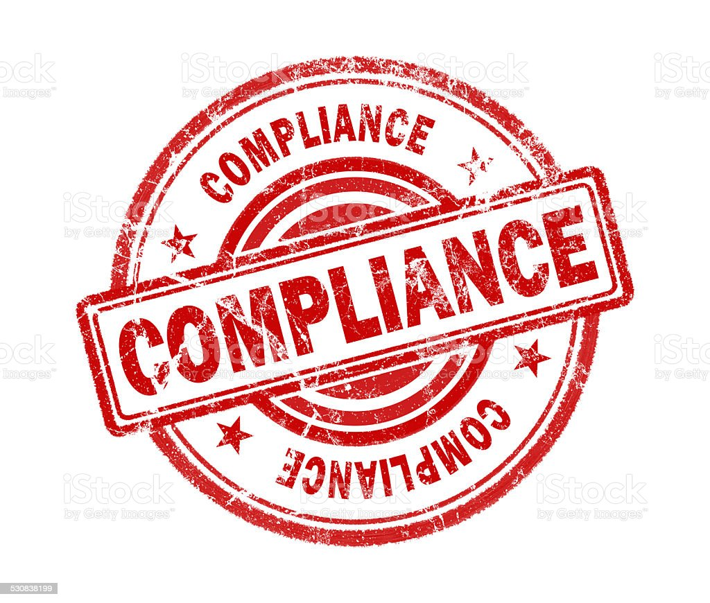 compliance stamp on white background stock photo