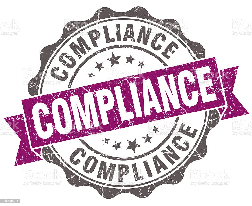Compliance violet grunge retro vintage isolated seal stock photo