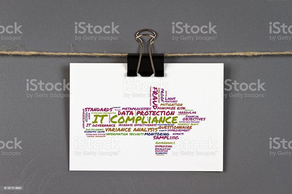 IT compliance word cloud stock photo