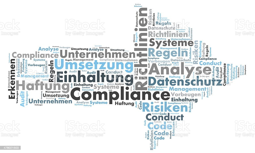 Compliance word cloud shaped as a arrow to the right stock photo