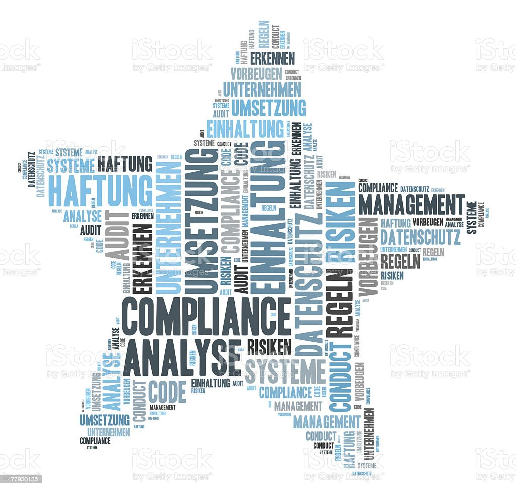 Compliance word cloud shaprd as a star stock photo
