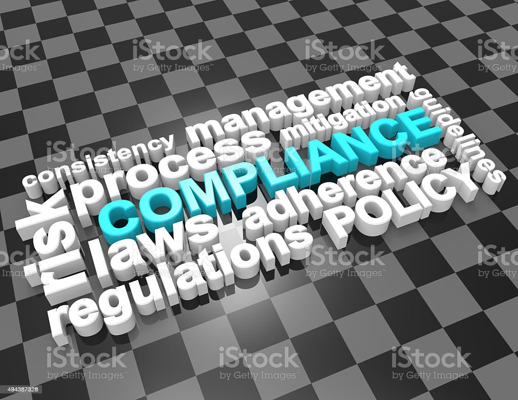 Compliance,laws,process word concept stock photo