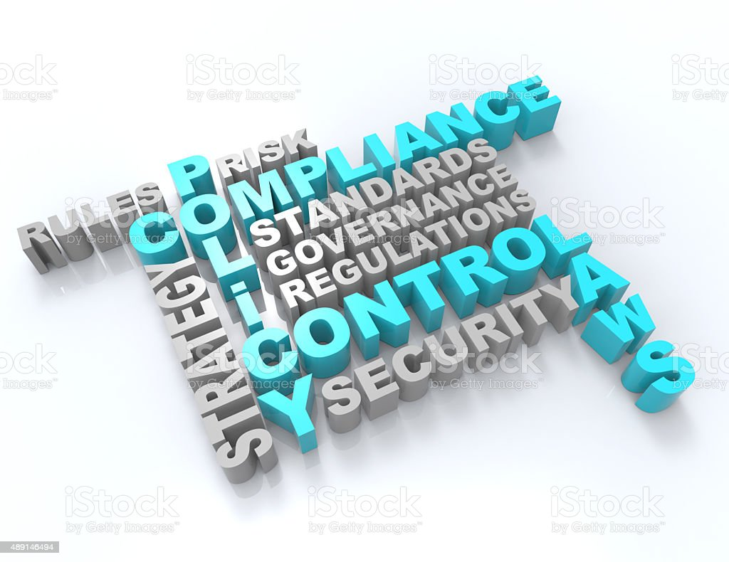 Compliance,Policy,Control,Laws 3d wordclouds concept stock photo