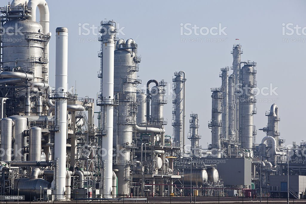 Complicated chemical plant stock photo