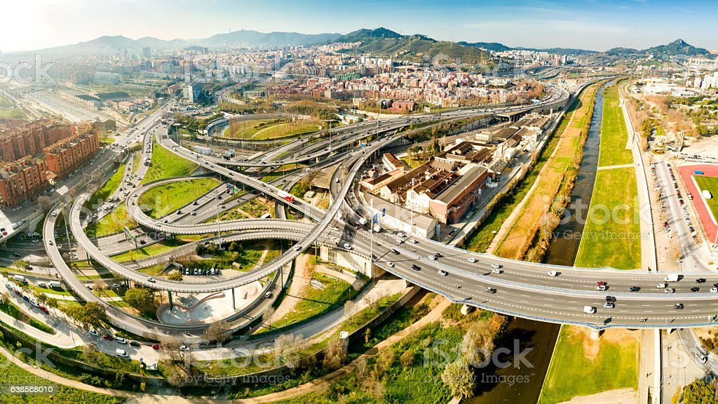Complicated Interchange to Access Barcelona stock photo