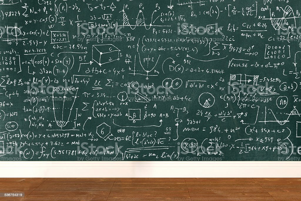 Complicated math formula on school classroom blackboard stock photo