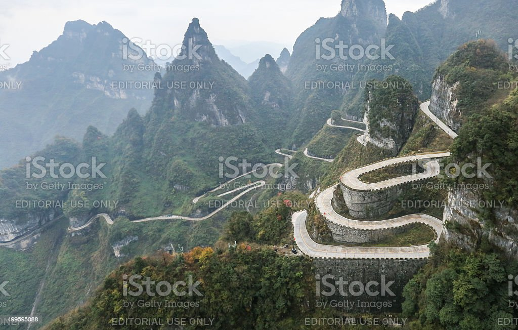 Complicated Road to Tianmen Mountain in Zhangjiajie China stock photo