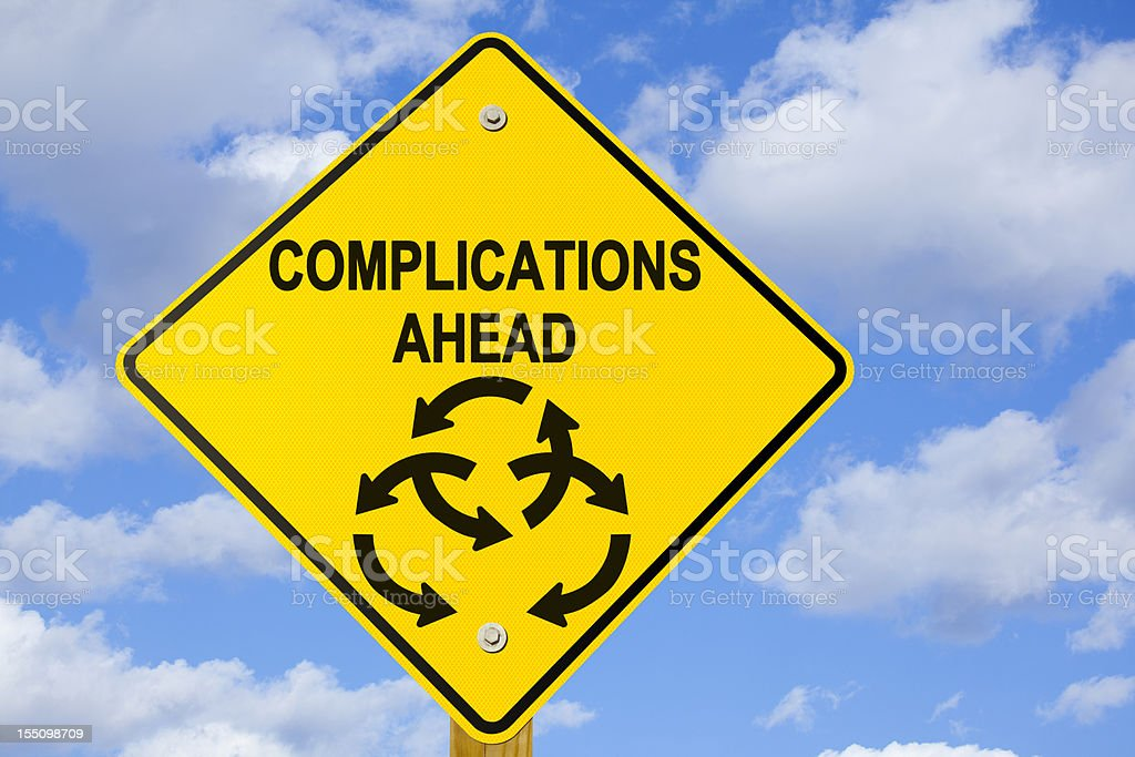 Complications Ahead Road Sign stock photo