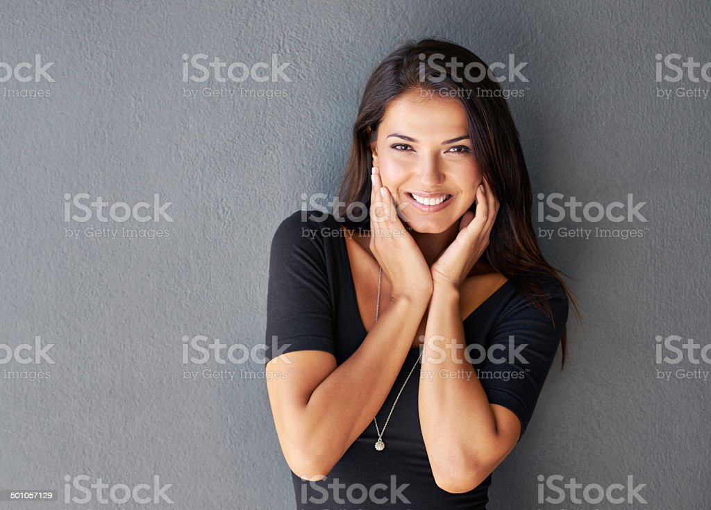 Compliments make her get a bit shy stock photo