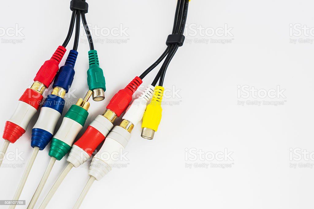 component video and audio cable stock photo