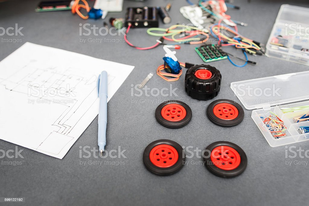 Components and scheme of constructing car at home stock photo