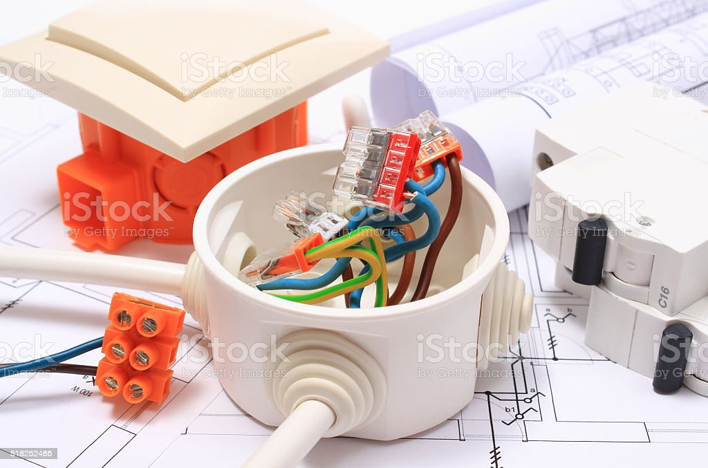 Components for electrical installations and construction diagrams stock photo