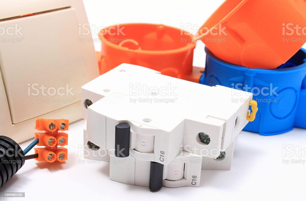 Components for electrical installations on white stock photo
