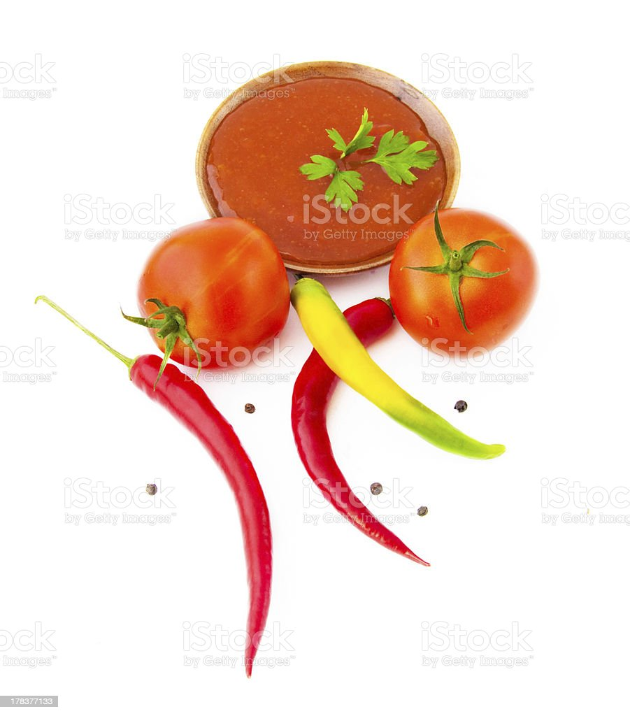 Components for ketchup preparation royalty-free stock photo