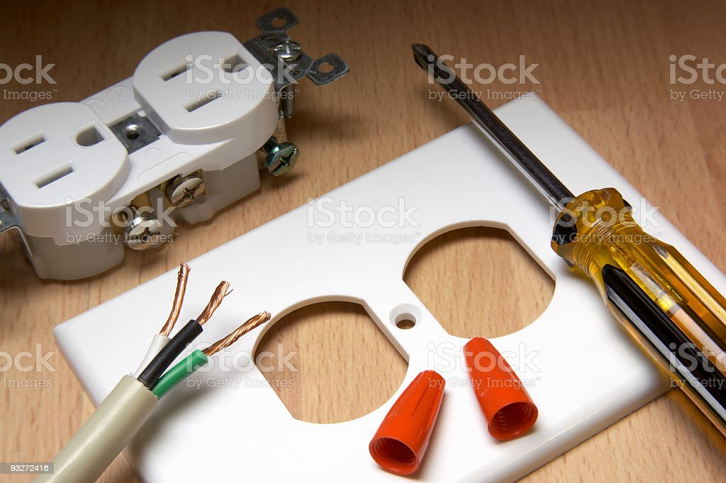 Components needed to install an electrical socket yourself  stock photo